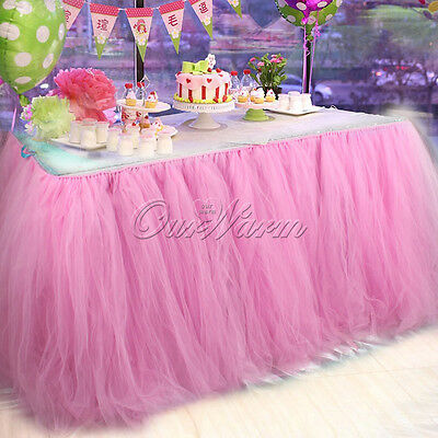 2X Pink Colored Tulle Tutu Table Skirt Birthday Wedding Tableware Party Supplies