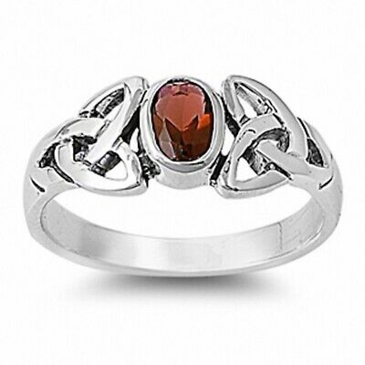 Solitaire Twisted Knot Celtic Wedding Engagement Ring Sterling Silver 1CT Garnet