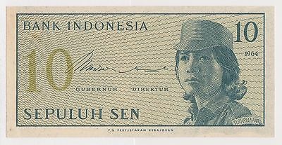(WV-131) 1964 Indonesia 10 SEN Bank note UNC (F)