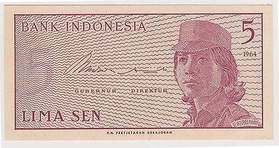 (WV-129) 1964 Indonesia 5 SEN bank note UNC (D)