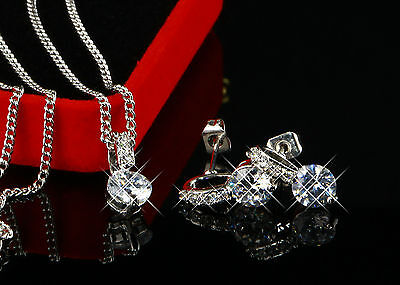 Jewelry set Necklace Pendant Zirconia Earrings 750 White gold gold plated S1756