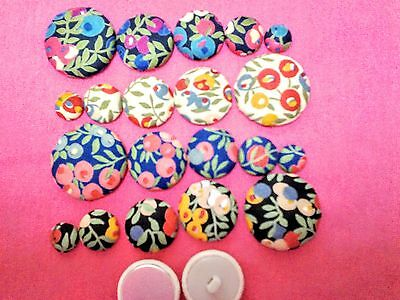 """""""LIBERTY"""" Berry FABRIC COVERED BUTTONS avail.in 12, 15, 20, 25,30mm."""