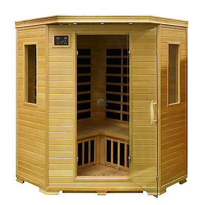 3 Person Corner Infrared Sauna Cabin Sarnia Carbon Fiber Heaters