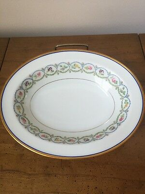 RARE& BEAUTIFUL HAVILAND LIMOGES OVAL BOWL BLUE & GOLD TRIM-Blue Green Wreaths