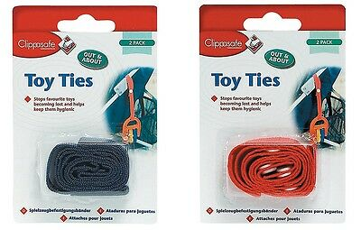 2 PACK-CLIPPASAFE TOY TIES Red/Black Safety Strap Stroller Ties-KEEP TOYS CLEAN!
