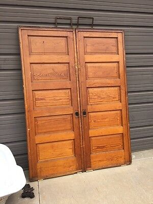 D 219 1Pair Antique Raised Panel Pine Pocket Doors