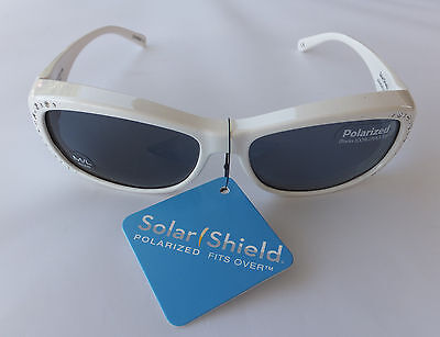 Solar Shield White Polarized Sunglasses Fits Over Glasses Size Medium/Large