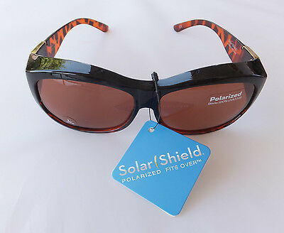 Solar Shield Polarized Sunglasses Fits Over Glasses, Size Large, Free Shipping