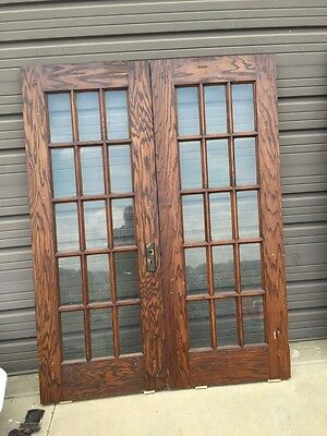 D 222 Pair Antique Oak French Glass Doors