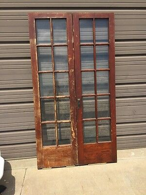D228 Pair Antique Pine French Doors Flat Glass Original Finish