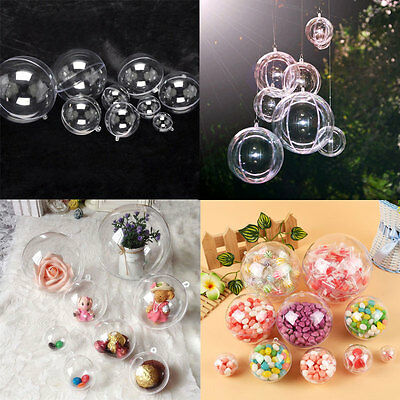 10 Pcs Plastic Round Ball Christmas Clear Bauble Ornament Gift Candy Bag Hanging