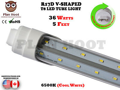 R17D F64T12 T8 5Ft 36W V Shaped Clear Lens 6500K Replacement Led Tube Light