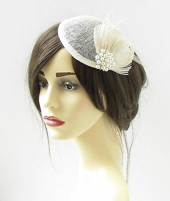 Ivory Cream Peacock Feather Fascinator Headpiece 1940s Pillbox Hat Vtg Races 343