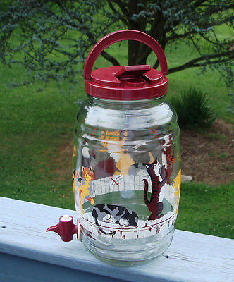 Sun Tea Jar With Spigot Cats On A Picket Fence Catching Dragonflys & Butterflys