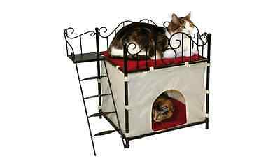 CAT KITTEN HOUSE Sleep Cave ROOF TERRACE Plush padded cover Rest Secure Safe NEW • EUR 42,79