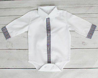 Baby Boy White Smart Shirt Style Formal Bodysuit Body Shirt Long Sleeve 0-18M