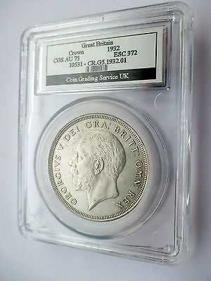 1932 George V Crown slabbed and graded almost uncirculated