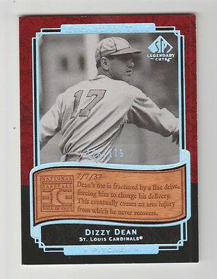 2003 Sp Legendary Cuts Dizzy Dean Cardinals Etched In Time Card #Et-Dd 126/175