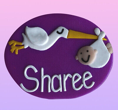 Stork & Baby Name Badge - with your name (loved by midwives)