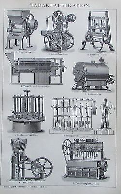 1895 TABAK-FABRIKATION Original Alter Druck Antique Print Lithographie Technik