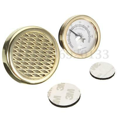 Gold Vintage 45mm Smoking Tobacco Hygrometer +Round Humidifier for Cigar Humidor