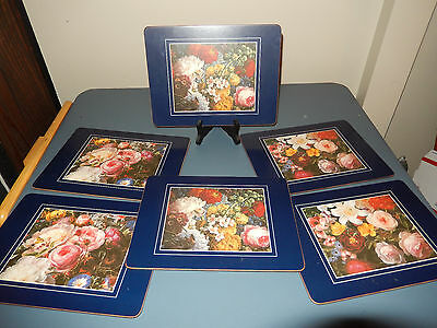 Vintage Pimpernel Placemats Flower Set Of 6 Cork Back  3 Designs Blue Edging