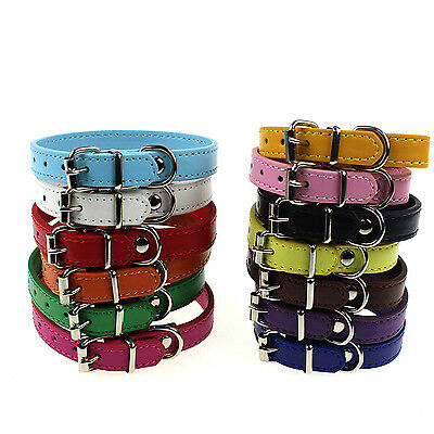 High Leather Pure Color Cute Dog Pet Cat Puppy Collar Neck Buckle Adjustable