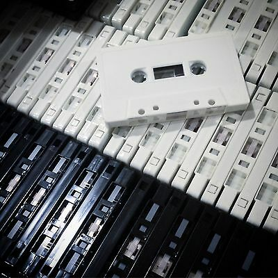 BRAND NEW CUSTOM LENGTH CASSETTE TAPES (BLANK) x20 DIY (BLACK OR WHITE)