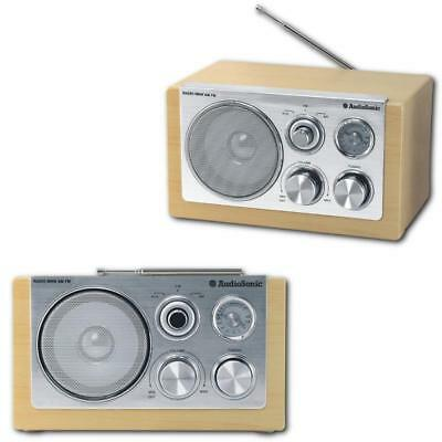 RETRO RADIO  Koffer-Küchen-Radio Nostalgie Design AudioSonic tragbar Buche Optik
