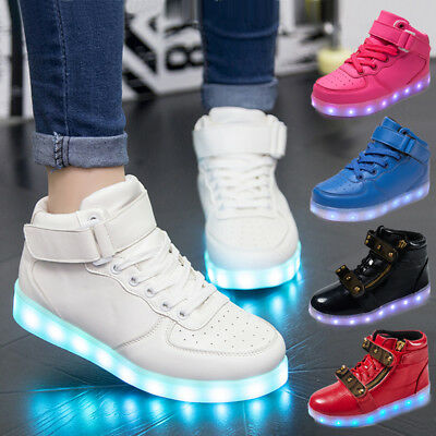 New Boys Girls Kids USB 7 LED Light Up Luminous Shoes USB Charge Casual Sneakers