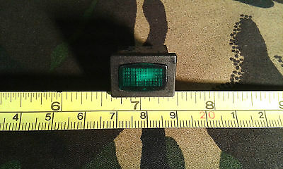 Green Neon Panel Indicator for 250V Mains, 12 x 17mm hole, 15 x 21 mm Rectangle