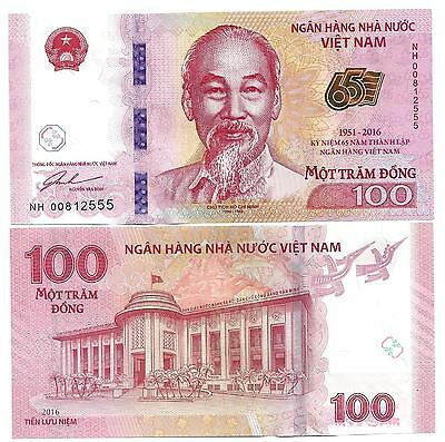 Vietnam 100 Dong 2016 Commemorative 65 Year National Bank Unc P 125