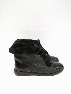 Size 38 Vintage Ladies black riding hiking rock lace up leather ankle boots