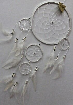 LARGE LONG BRIGHT 22 cm Main Web Dream Catcher WHITE HANDMADE VERY POPULAR