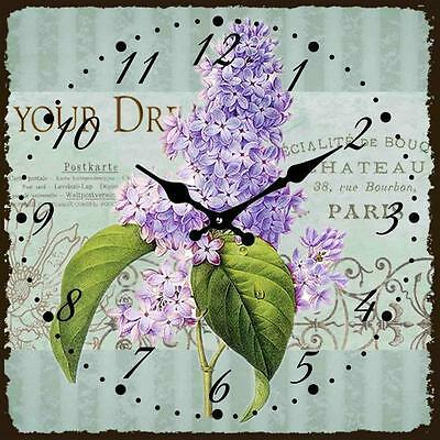 French Country Chic Retro Inspired Wall Clocks 15CM MAUVE FLORAL SQUARE New Time