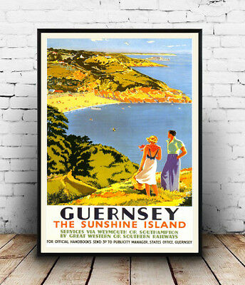 Guernsey : Vintage Railway travel advertising , Reproduction poster, Wall art.