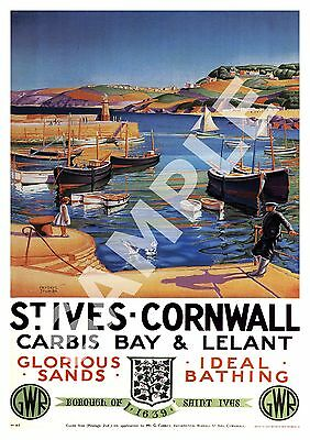 St Ives : Vintage Railway Travel advertising , Reproduction poster, Wall art.