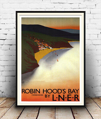 Robin Hoods bay : Vintage Railway advertising , Reproduction poster, Wall art.