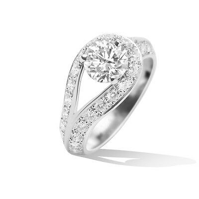 Van Cleef & Arpels VCA Couture Solitaire Diamond engagement Ring size 6.25 GIA