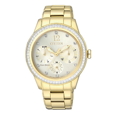 Citizen Eco Drive FD2012-52P Day/Date Champagne Crystal Dial/Bezel Women's Watch