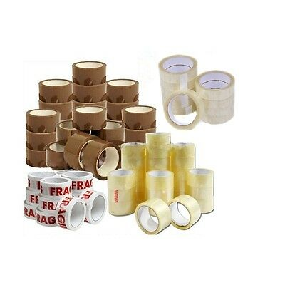 HeavyDuty All Sizes CLEAR BUFF FRAGILE Parcel Tape Packing strong sellotape 4U