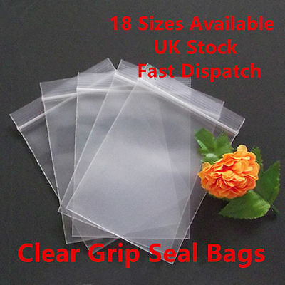 Grip Seal Clear Self Resealable Polythene Zip Lock Poly Plastic Bags 18 Sizes