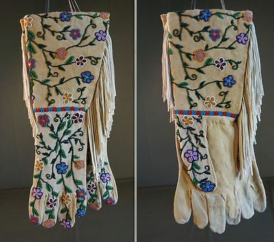 Very Rare Native American Santee Sioux Fully Beaded Gauntlet Gloves Large