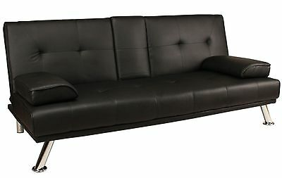3-Seater Sofa Bed | Black Faux Leather | Clic Clac Design | Cup Holder