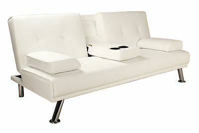 3-Seater Sofa Bed | White Faux Leather | Clic Clac Design | Cup Holder