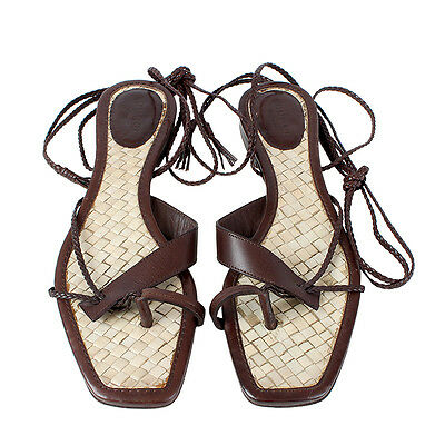 6469dbfb6fd6 38940 AUTH GUCCI dark brown leather Flat LACE-UP Sandals Shoes 37.5 ...