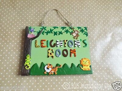Jungle Animal Theme Bedroom Name Plaque Door Sign Home Decor Personalised Gift