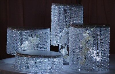 "Beaded Tiers 8/10/12/14"" round set,with acrylic diamond cut For Cake Stand"