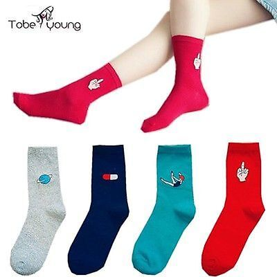 Japanese Style Unisex Long Novelty Printed Hipster Colorful Cotton Casual Socks