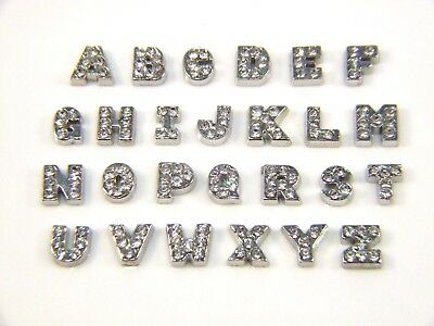 Floating Charms For Living Memory Locket Pendant Silver A-Z Letter Initial 8mm